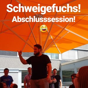 Kevin Krieger macht den Schweigefuchs auf dem Saarcamp 2017